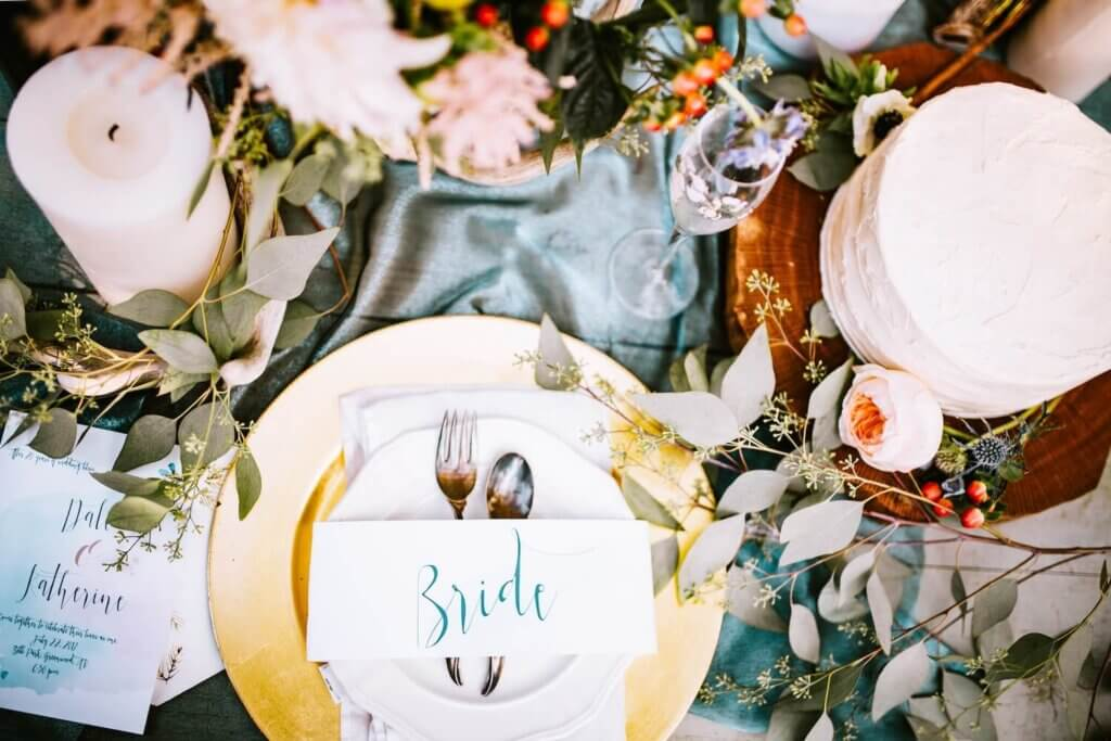 結婚式のテーブル上